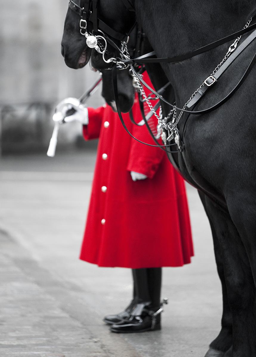 Vakt och häst vid Horse Guard i London