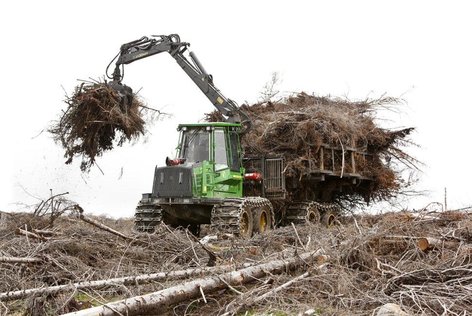 Skogsmaskin arbetar på kalhygge