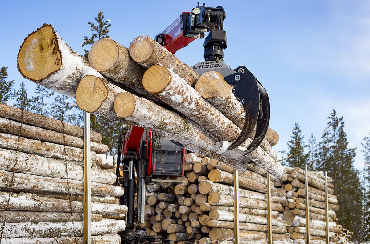 Virkesbil lastar timmer inom skogsindustrin