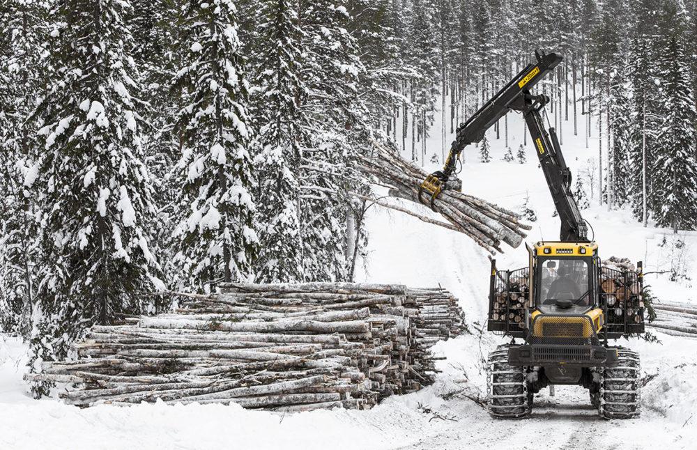 Skogsmaskin lastar timmer längs skogsväg